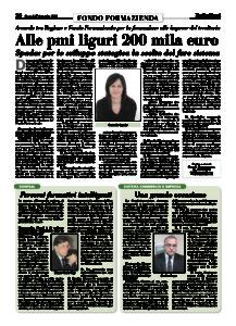 Alle PMI liguri 200 mila euro