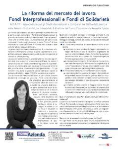 La riforma del mercato del lavoro: Fondi Interprofessionali e Fondi di Solidarietà