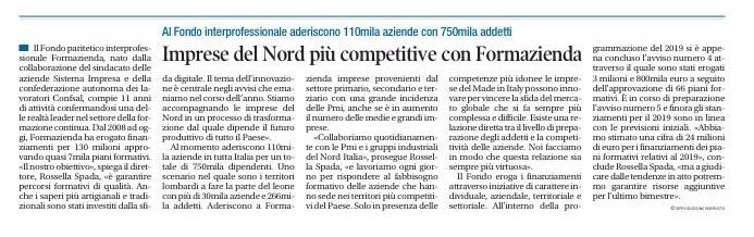 Imprese del nord più competitive con Formazienda