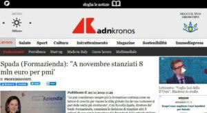 Spada (Formazienda): «A novembre stanziati 8 mln euro per pmi»
