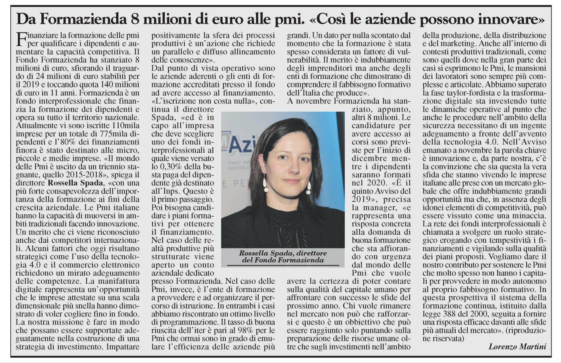 Da Formazienda 8 milioni di euro per le pmi. «Così le aziende possono innovare»