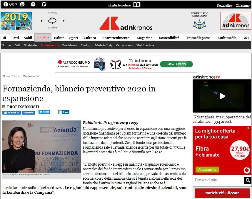 Formazienda, bilancio preventivo 2020 in espansione