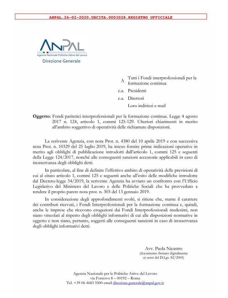 Obblighi di pubblicazione per le imprese che ricevono erogazioni dai fondi. La nota Anpal.