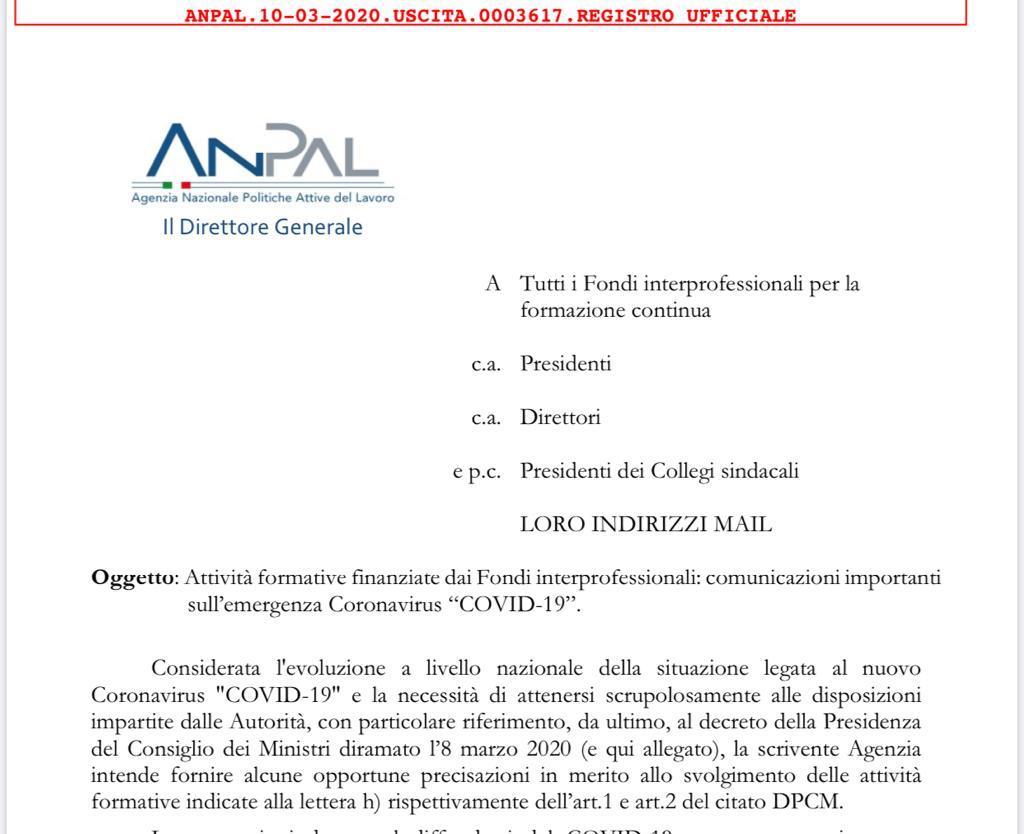 Nota Anpal 3617 del 10/03/2020 – Emergenza Covid 19: Attività formative in modalità digitali solo se tracciabili