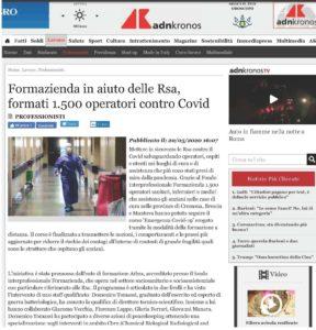 FORMAZIENDA IN AIUTO DELLE RSA, FORMATI 1.500 OPERATORI CONTRO COVID