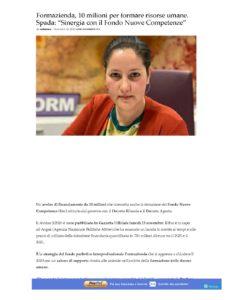 """FORMAZIENDA, 10 MILIONI PER FORMARE LE RISORSE UMANE. SPADA: """"SINERGIA CON IL FONDO NUOVE COMPETENZE"""""""