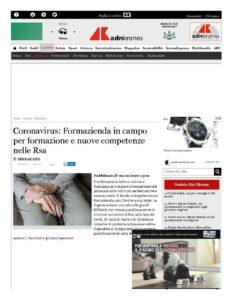 CORONAVIRUS: FORMAZIENDA IN CAMPO PER FORMAZIONE E NUOVE COMPETENZE NELLE RSA