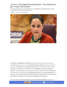 """LAVORO E PMI, SPADA (FORMAZIENDA): """"PIÙ FORMAZIONE PER EVITARE CRISI SOCIALE"""""""
