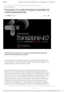 Formazione 4.0, credito d'imposta compatibile con i fondi interprofessionali