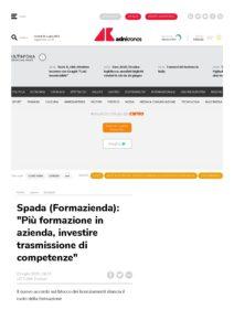 """SPADA (FORMAZIENDA): """"PIÙ FORMAZIONE IN AZIENDA, INVESTIRE TRASMISSIONE DI COMPETENZE"""""""