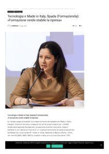 TECNOLOGIA E MADE IN ITALY, SPADA (FORMAZIENDA): «FORMAZIONE RENDE STABILE LA RIPRESA»