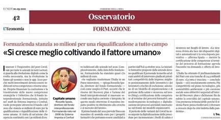 L'ECONOMIA DEL CORRIERE 'CENTRALITÁ AL FATTORE UMANO'